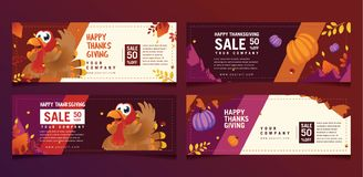 Ornamental Turkey Thanksgiving Banner Collection stock illustration