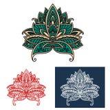 Ornamental turkish paisley flower design elements Royalty Free Stock Photography