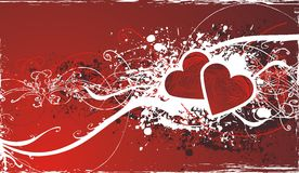 Ornamental valentine background. Decorative valentines background with red hearts & floral motion on red grunge frame Stock Image