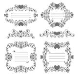 Ornamental valentine day frames. Frame with plant and heart Royalty Free Stock Photos