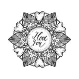 Ornamental Valentines day or wedding card with hand drawn zentangle inspired mandala, love concept, line art Stock Photos