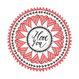Ornamental Valentines day or wedding card with hand drawn zentangle inspired mandala, love concept Stock Images