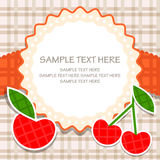 Ornamental vector frame with apple and cherry. Vector frame with apple and cherry. Broun and red Vector Illustration