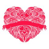 Ornamental vector heart with ribbon across it. Stock Image