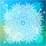 Ornamental vector illustration of a mandala. Ornamental vector illustration of a snowflake on glowing blue background. Mandala design for winter holiday card Stock Images