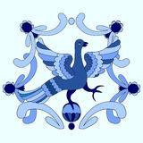 Ornamental vector illustration of mythological bird. Blue templa Royalty Free Stock Photo