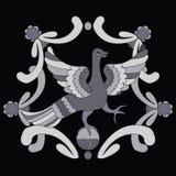Ornamental vector illustration of mythological bird. Grey fairy bird. Royalty Free Stock Photo