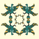 Ornamental vector illustration of mythological birds. Folkloric motive. Royalty Free Stock Photography