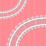 Ornamental vector lace background. Red vector card with a figured lace. Ornamental background Stock Images
