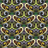 Ornamental vintage seamless pattern. Floral vector patterned bac. Kground. Hand drawn decorative flowers ,swirls,  leaves, lines. Stitching embroidery 3d effect Royalty Free Stock Photos
