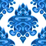 Ornamental watercolor paint damask pattern Royalty Free Stock Photo