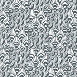Ornamental waves zentangle pattern. Creative textile swatch or packaging design. Black and white page for adult coloring book. Ornamental waves zentangle Royalty Free Stock Images