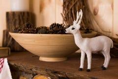 Ornamental white Christmas reindeer Stock Photography