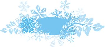 Ornamental winter background. Exquisite winter background series with snowflakes and floral details,  illustration Royalty Free Stock Photography