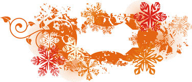 Ornamental winter background. Exquisite winter background series with snowflakes and ornamental details,  illustration in orange and red colors Stock Photos