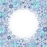 Ornamental winter frame with ornate snowflakes. Beautiful luxury background with stylized grey snowflakes. Christmas and New Year festive card with place for Stock Photography