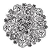 Ornamental winter hand-drawn lace snowflake. Royalty Free Stock Photos