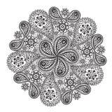 Ornamental winter hand-drawn lace snowflake. Royalty Free Stock Photos