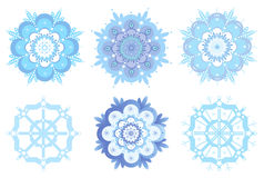Ornamental winter snowflakes, flowers Stock Photo