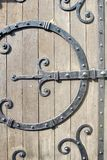 Ornamental wrought iron door hardware Royalty Free Stock Photos