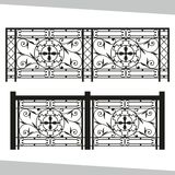 Artistic forging, black, geometric pattern, national pattern. Ornamental wrought iron, fencing on white isolated background, аrtistic forging, black royalty free illustration
