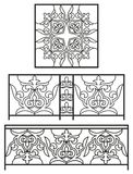 Artistic forging, black, national ornament, pattern. Ornamental wrought iron, fencing on white isolated background,аrtistic forging, black, national ornament royalty free illustration