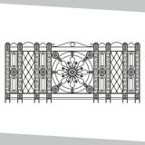 Ornamental wrought iron, fencing on white isolated background royalty free illustration