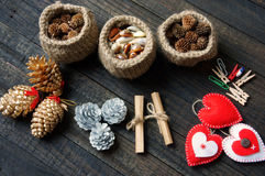 Ornamental, Xmas, christmas pine cone, handmade Stock Photography