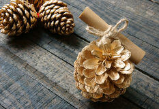 Ornamental, Xmas, christmas pine cone, handmade Stock Photography