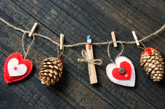 Ornamental, Xmas, christmas pine cone, handmade Stock Photos