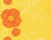 Ornamental yellow background with blooming flowers. Illustration Royalty Free Stock Photo