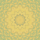 Ornamental yellow-turquoise round ethnic background in square Royalty Free Stock Image