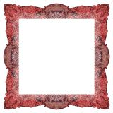 Ornamentally colored symmetrical, square shaped frame design Stock Images