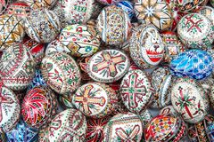 Ornamentally handpainted eggs Stock Photo