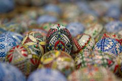 Ornamentally painted eggs, Romania. Painted eggs for the Orthodox Easter in Romania Royalty Free Stock Photo