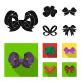 Ornamentals, frippery, finery and other web icon in black, flat style.Bow, ribbon, decoration, icons in set collection. Ornamentals, frippery, finery and other Stock Photo
