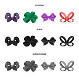 Ornamentals, frippery, finery and other web icon in cartoon,black,monochrome style.Bow, ribbon, decoration, icons in set. Ornamentals, frippery, finery and other Royalty Free Stock Photos