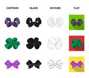 Ornamentals, frippery, finery and other web icon in cartoon,black,outline,flat style.Bow, ribbon, decoration, icons in. Ornamentals, frippery, finery and other Royalty Free Stock Photos
