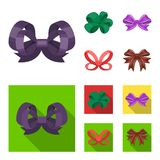Ornamentals, frippery, finery and other web icon in cartoon,flat style.Bow, ribbon, decoration, icons in set collection. Ornamentals, frippery, finery and other Stock Image
