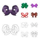 Ornamentals, frippery, finery and other web icon in cartoon,outline style.Bow, ribbon, decoration, icons in set. Ornamentals, frippery, finery and other  icon in Stock Photos