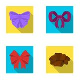 Ornamentals, frippery, finery and other web icon in flat style.Bow, ribbon, decoration, icons in set collection. Ornamentals, frippery, finery and other  icon Stock Image