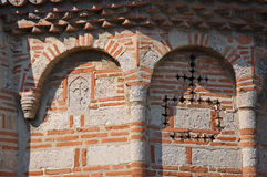 Ornamentals on the wall of the mediaval church. Orthodox Church of the Assumption of the Holy Virgin is a cultural monument of great importance and is located on stock photo