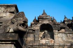 Ornamentation of Borobudur Temple. Buddha niches and gargoyle around Borobudur's lower levels Royalty Free Stock Photography
