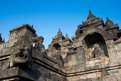 Ornamentation of Borobudur Temple. Buddha niches and gargoyle around Borobudur's lower levels Stock Photos