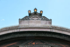 Ornamentation on roofs of Nijo Castle in Kyoto. Nijo Castle also known as Second Palace, Ninomaru Palace, a flatland castle founded 1679, Kyoto. Japan Royalty Free Stock Photography