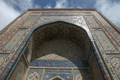 Ornamentation of shakhizinda. Decorated doorway of the shakhizinda mausoleum complex in samarkand, uzbekistan royalty free stock images