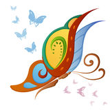 Ornamented abstract colorful butterfly. Abstract silhouette invented decorative colorful butterfly. It is designed to decorate royalty free illustration