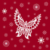 Ornamented abstract lace snowflake butterfly and simple snowflak Stock Photography