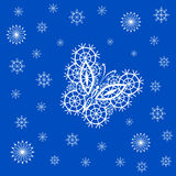 Ornamented abstract lace snowflake butterfly and simple snowflak. Abstract silhouette invented decorative butterfly and snowflakes. It is designed to decorate Royalty Free Stock Image