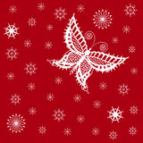 Ornamented abstract lace snowflake butterfly and simple snowflak Royalty Free Stock Photo